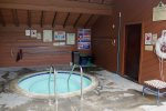 Pool Area- Welcome Entrance to Woodlands Mammoth Lakes Rentals
