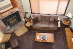 Mammoth Lakes Rental Woodlands 10- Living Room from the Loft