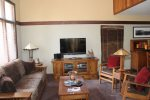Mammoth Lakes Rental Woodlands 10- Living Room with Mission Furniture and a Flat Screen TV