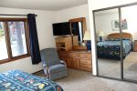 Mammoth Condo Rental Woodlands 30- Master Bedroom Flat Screen TV and Plenty of Storage
