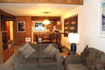 Mammoth Lakes Condo Rental Woodlands 30 -Open Floor Plan Living Room, Dining Room and Kitchen