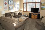 Mammoth Condo Rental Woodlands 48 - Living Room with Flat Screen TV