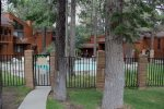 Pool Entrance - Woodlands Mammoth Lakes Rentals