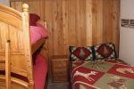 Mammoth Lakes Condo Rental Woodlands 31 - 3rd Bedroom with a Queen Bed and Bunk Beds