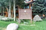 Mammoth Condo Rental Snowflower 37 - View from the Deck of the Tennis Court and Mountains