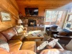 Mammoth Condo Rental Snowflower 37 - Living Room with a Large Flat Screen TV, DirecTV, access to outside deck.