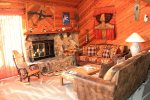 Mammoth Condo Rental Snowflower 45 - Living Room with Wood Burning Fire Place