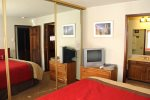 Mammoth Rental Snowflower 53 - Guest Bedroom has a TV and private bath