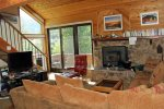 Mammoth Rental Snowflower 53 - Flat Screen TV and Pellet Stove in Living Room