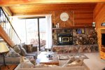 Mammoth Lakes Rental Snowflower 73 - Wood Burning Stove in the Living Room