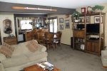 Mammoth Lakes Rental Wildflower 7 -  Living Room and Dining Room. Flat Screen TV with  Directv.