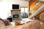 Mammoth Lakes Condo Rental Wildflower 50 - Beautiful Living Room with Hardwood Floors and Outside Deck