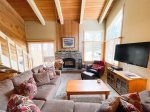Mammoth Lakes Condo Rental Wildflower 36 - Fire Place and Large Flat Screen TV
