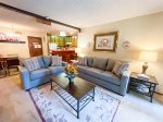 Mammoth Condo Rental Chamonix 77 - Living Room with Fireplace and Large Flat Screen TV