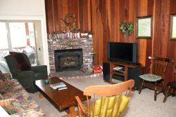 Mammoth Condo Rental Chamonix 28 - Living Room with Outside Deck Access