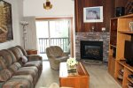 Mammoth Condo Rental Chamonix 40 - Living Room with Cozy Gas Fireplace