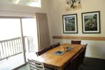 Mammoth Rental Chamonix 86 - Dining Area with Seating for Six and Access to Outside Deck