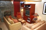 Mammoth Condo Rental Chamonix 95 - Living Room with Queen Sofa Sleeper and TV