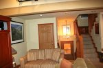 Mammoth Condo Rental Chamonix 95 - Living Room to Entry and Loft Stairs