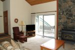 Mammoth Condo Rental Snowcreek 628 - Living Room has a Flat Screen TV and Outside Deck Access