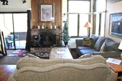 Mammoth Lakes Condo Rental Wildflower 24 Living Room has an Electric Fireplace Heater