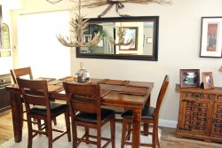 Mammoth Condo Rental Silver Bear 37 Comfy Dining Room with Antler Chandelier