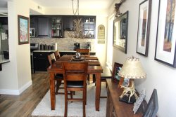 Mammoth Lakes Vacation Rental Silver Bear 37 Comfy Dining Room with Antler Chandelier