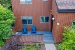 Aerial view of some of tennis courts and 1 of the pools