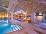 Indoor pool and waterfall Jacuzzi, steam room and sauna