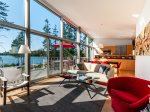 Living room with expansive water views