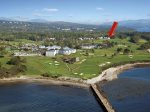 The red arrow marks the location of `On the Green` nestled in the Samoset Resort