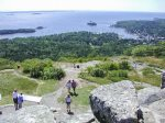 The Camden Hills State Park with 28 miles of hiking trails abutts Megunticook Lake - View from Mt. Battie