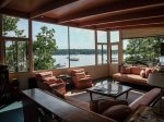 The deck sits just above the water and offers plenty of scenery and seating.