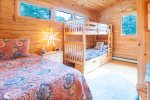 Upper bunk bedroom with single twin bed 3 twin beds total