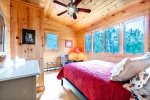 Upper queen bedroom with views of Megunticook Lake