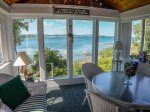 Enclosed porch just off the living room with great water views