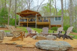 Overlook at Lake Burton - Modern rustic home with hot tub, fire pit, and beautiful views of Lake Burton