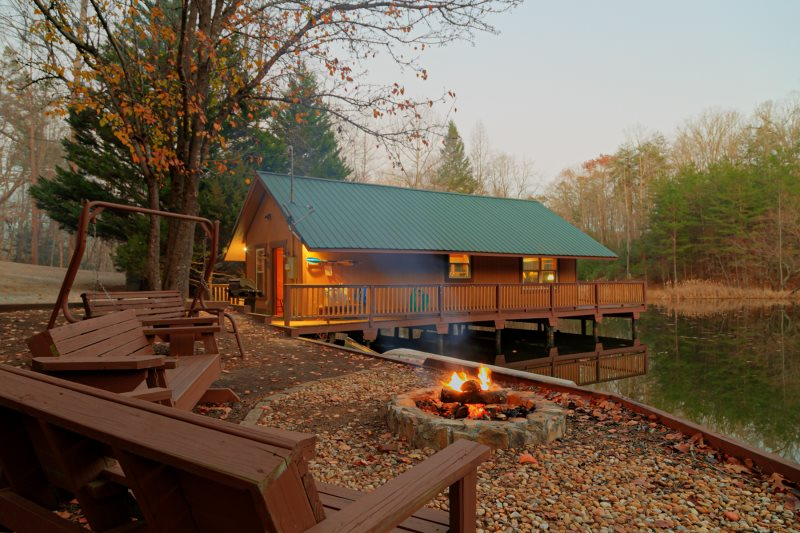 Nice Helen, GA Cabin Rentals | Knotts Landing | Lovely 1 Bedroom Cabin Set Right  On Laurel Pond. Fish From The Deck!