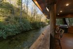 Back porch overhanging the Chattahoochee River.
