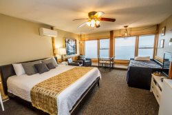 Enjoy sweeping Lake Superior views right from your room at Chateau LeVeaux Suite #303, including indoor swimming pool, hot tub, sauna, and game room.