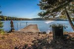 Enjoy the private seasonal dock.  Caribou Lake is ideal for swimming, fishing, canoeing, kayaking, etc.