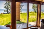 Enjoy lake views from the living room and bedroom.
