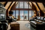 Floor to ceiling windows in the living room provides amazing Lake Superior views.