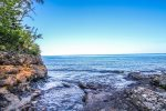 The private ledgerock shoreline area is yours to enjoy during your stay at Highway 61 Revisited.