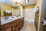There is also a full bathroom in the lower level with a shower/tub combo.
