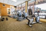 The fitness center is located on the lowest level of the Alpine Building near the outdoor pool.