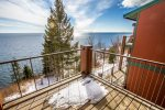 The master bedroom balcony is yet another spot where you can enjoy the Lake Superior views.