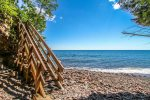 At the far end of the property there is a staircase leading to the 600` of Lake Superior Shoreline shared by all Aspenwood units.