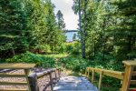 Set in a quiet neighborhood on Devil Track Lake, Hyggested is a great lakeside retreat.