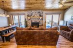 Enjoy views of Gunflint Lake through the sliding glass doors that lead out to the lake-facing deck.